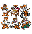 cartoon character set of cute little tiger vector image