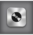 CD or DVD disc icon - metal app button vector image vector image