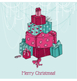 Christmas Card - Christmas Tree from Gifts vector image vector image