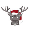 christmas deer icon red hat santa claus vector image