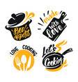 cooking lettering elements vector image