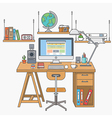 flat lines modern workplace vector image vector image