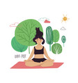 girl doing lotus yoga pose with cat vector image