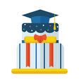 Graduation Cake Flat Icon vector image