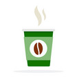 green coffee paper cup with hot steam flat vector image vector image