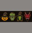 halloween characters witch devil zombie pumpkin vector image