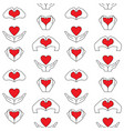 hand and heart seamless pattern vector image