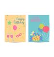 happy birthday set birthday greeting card vector image