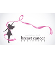 Happy girl with pink ribbon for breast cancer