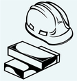 Hard hat and bricks vector image