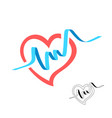 heart shape with blue pulse beat wide line graph vector image