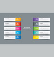 infographics tab index in horizontal paper index vector image vector image
