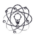 light bulb and atom around icon in blurred vector image vector image