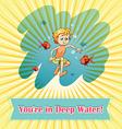 Man in deep water vector image vector image