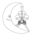 medieval castle and smiling moon - hand drawing vector image