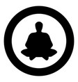 meditation man the black color icon in circle or vector image vector image