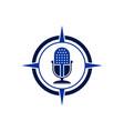 microphone compass concept logo icon vector image