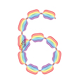 Number 6 made in rainbow colors vector image