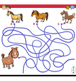 path maze game with horses vector image vector image