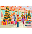 people buy presents in supermarket christmas sale vector image vector image