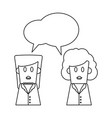 people talking cartoon in black and white vector image vector image