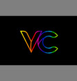 rainbow color colored colorful alphabet letter vc vector image vector image