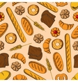 Seamless healthy bakery products retro pattern vector image vector image