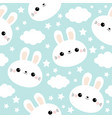 seamless pattern white rabbit bunny face cloud vector image vector image