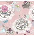 Seamless pattern with cupcakes tea and macaroons vector image vector image