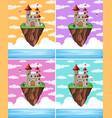 set fantasy castle island vector image vector image