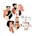 set happy couples in love celebrating vector image vector image