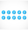 set of blue number icons vector image vector image
