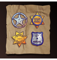 sheriff stars on old paper background vector image vector image