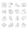 simple icon set related to money a set of sixteen vector image vector image