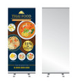 thai food roll up banner stand design vector image vector image