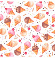 various ice cream cones seamless pattern vector image vector image