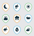 weather icons set with deluge overcast snow and vector image