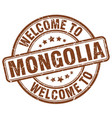 welcome to mongolia brown round vintage stamp vector image vector image