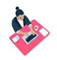 woman workplace computer vector image