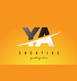 ya y a letter modern logo design with yellow vector image vector image