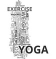 yoga and weight loss text word cloud concept vector image vector image