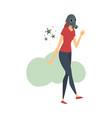 young woman in respirator cartoon vector image