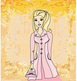Autumnal fashion girl in a coat in sketch-style vector image