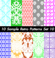 10 Retro Patterns Textures Set 10 vector image