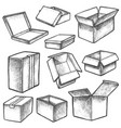 3d cube boxes or realistic cargo containers sketch vector image vector image