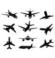 airplane silhouette passenger plane landing back vector image