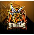 angry bee esport mascot logo design