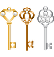 Antique metal skeleton keys set vector image