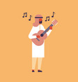 arabic man playing guitar music street performance vector image