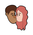 avatar couple face kissing with hairstyle design vector image vector image